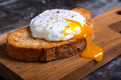 Eggs over easy on thick toast