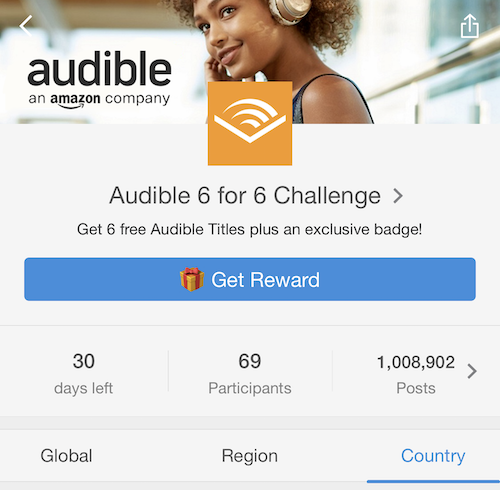 Audible 6 for 6 challenge homepage joined