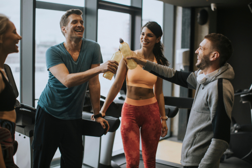 Group of people happy after a good workout
