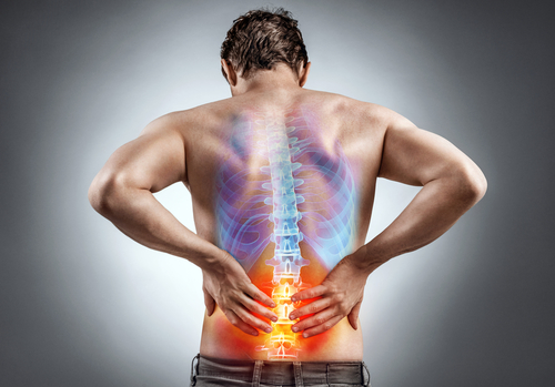Man with lower back pain graphic concept